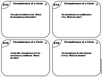 Circumference of a Circle Task Cards Practice Activity/ Quiz