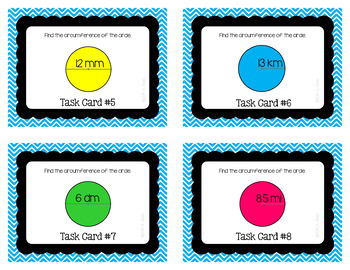 Circumference of a Circle Task Cards