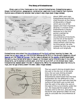 Circumference of the Earth Reading/Writing Activity