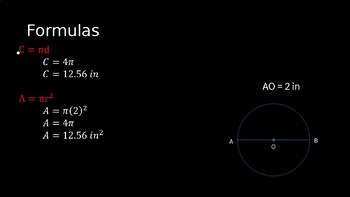 Circumferences and Areas of Circles - PowerPoint Lesson (9.5)