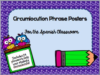 Circumlocution Phrase Posters for the Spanish Classroom