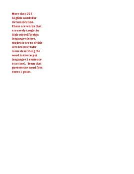 Circumlocution word list