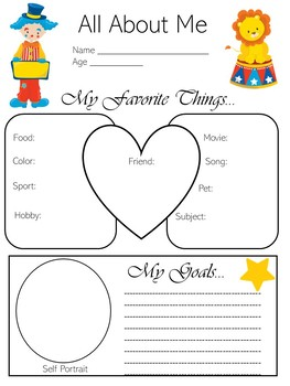 Circus Theme Activity | Circus Theme All About Me