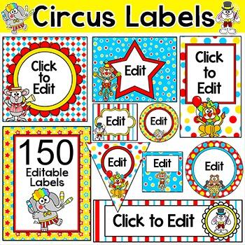 Circus Labels - Circus Animals Theme