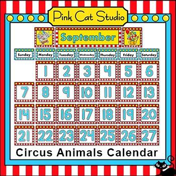 Calendar Set - Circus Animals Theme
