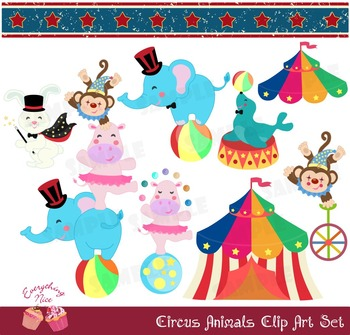 Circus Animals Clip Art Set