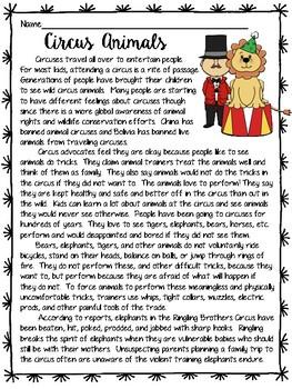 Circus Animals Debate Informational Text Reading Comprehension