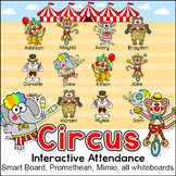 Circus Animals Theme Attendance Chart with Lunch Count - Interactive Whiteboards