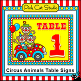 Circus Animals Theme Classroom Table Signs - Carnival Theme