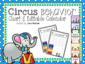 Circus Behavior Clip Chart and Editable Calendar