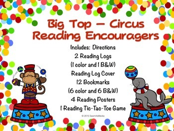 Circus (Big Top)  Bookmarks, Reading Logs, Posters. (To En