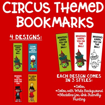 Circus Big Top Themed Reading Bookmarks Ink Friendly