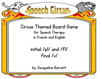 Circus Board Game- L-Blends and Final /v/ (In English and French)