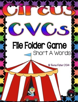 Circus CVC Short A Words Literacy File Folder Game Freebie