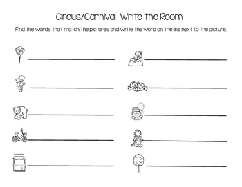 Circus/Carnival Write the Room
