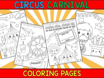 Circus Carnival And Birthday Party Crayon Crowd Coloring Pages