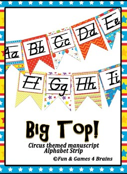 Circus, Carnival, themed print Alphabet Strip Banner