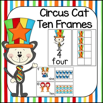 Circus Cat Ten Frames! Posters, Workstation Cards and Worksheets!