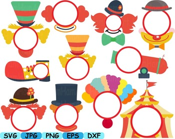Circus Circle Props school clip art party photo booth mask birthday party -241s