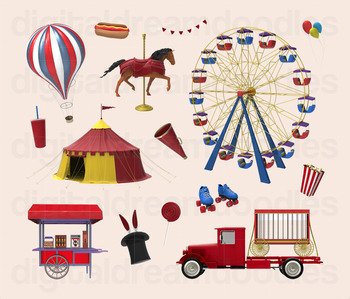 Circus Clip Art - Carnival Ferris Wheel Digital Graphics