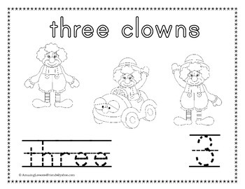 Circus Clown Counting and Tracing Number Sheets