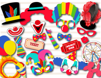 Circus Clown Photo Booth Props Circus Party Carnival Party Clown Party 0373