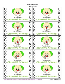 Circus / Clown Themed Student Incentive Punch Cards