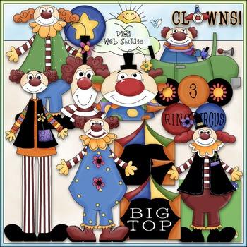 Circus Clowns Clip Art - Big Top Clip Art - CU Clip Art & B&W