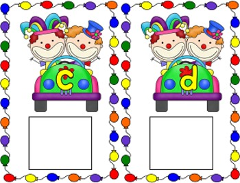 Circus Clowns Alphabet Matching Cards and Cut and Patse Sheets