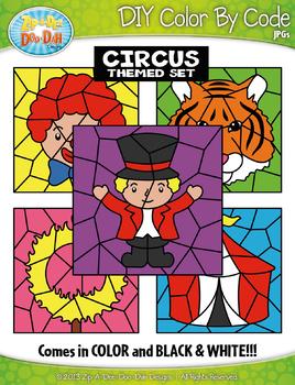 Circus Color By Code Clipart {Zip-A-Dee-Doo-Dah Designs}