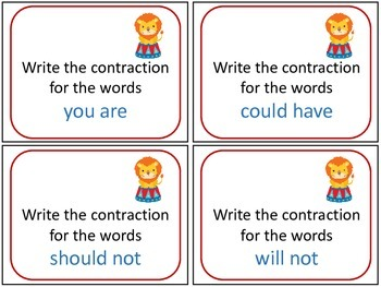 Circus Contraction Task Cards