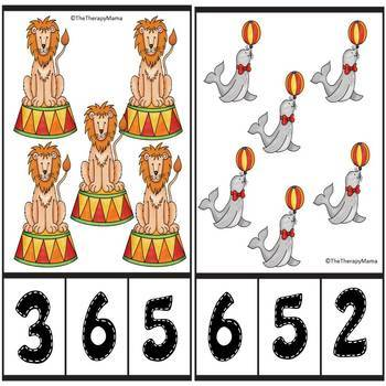 Circus Counting Number Clip Cards 1 - 20 No prep Math Center Cards ABA Autism