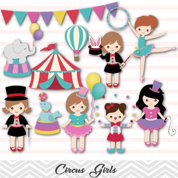 Circus Digital Clip Art Girls Circus Clip Art Carnival Girl Circus Party, 00193