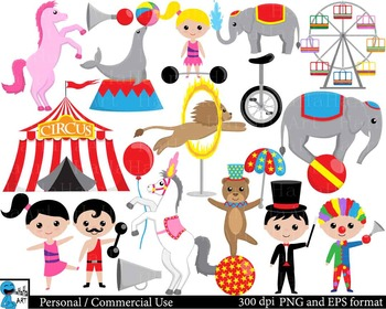 Circus Digital Clip Art Graphics Personal and Commercial Use 64 images cod177