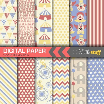 Circus Digital Paper, Circus Digital Backgrounds, Vintage Circus Patterns