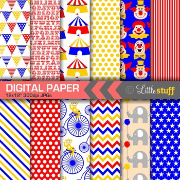 Circus Digital Papers, Circus Digital Backgrounds & Patterns