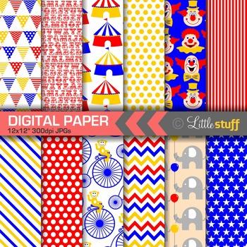 Circus Digital Papers, Circus Digital Backgrounds & Patterns