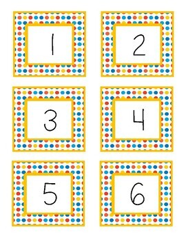Circus Dots Class Numbers 1 - 36