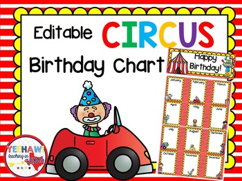 Circus Editable Birthday Chart