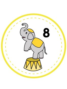 Circus/Elephant Table Numbers 1-8