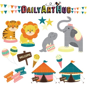 Circus Escapade Clip Art - Great for Art Class Projects!