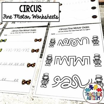 Circus Fine Motor Skill Worksheets