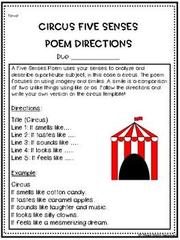 Circus Five Sense Poem - FREE!