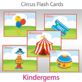 Circus Flash Cards; Preschool; Kindergarten; Homeschool; Printable; Flashcards
