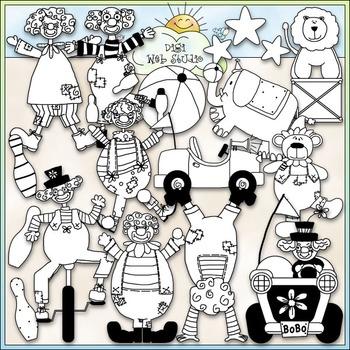 Circus Fun Clip Art - Circus Animals Clip Art - Clown Clip Art -CU ClipArt & B&W