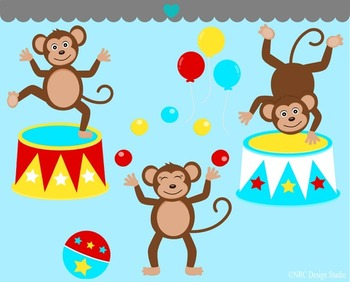 Circus monkey clipart commercial use