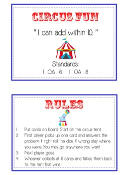 Circus Fun - Fun Math Folder Game - Adding 10 to 20 - Common Core Aligned