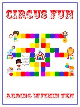 Circus Fun - Fun Math Folder Game - Adding 10 to 20 - Comm