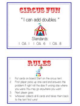 Circus Fun - Fun Math Folder Game - Adding Doubles - Common Core Aligned