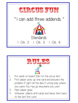 Circus Fun Fun Math Folder Game Adding Three 3 Addends Parts Common Core Aligned
